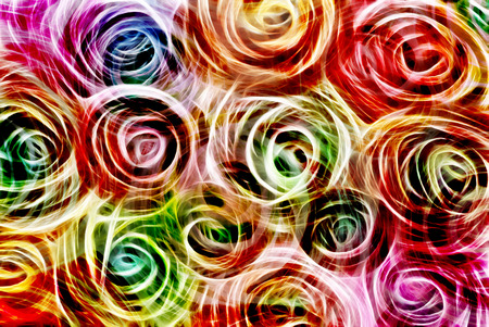 light streaks: Art, bright Colorful light streaks abstract background in blue, red, purple and green colors in the shape of flowers Stock Photo