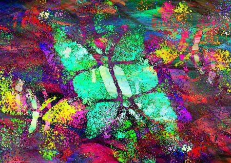 sward: Multicolored butterflies painted on bright colorful background