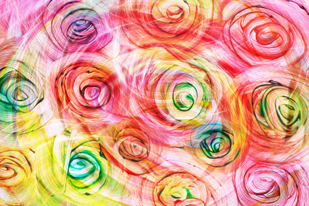 roses and blood: art abstract bright rainbow oil pattern background in red, yellow and green colors in the shape of flowers