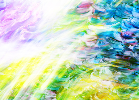 fragment pattern, multicolored oil paint strokes on the paper surface, effect of waves and sun rays, place for text Stock Photo