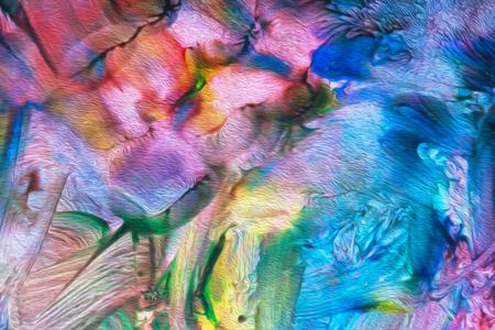 konst abstrakt ljusa rainbow olje mönster bakgrund, selektiv inriktning Stockfoto