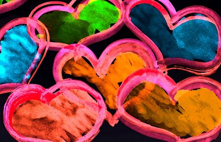 art abstract colorful background with hearts 版權商用圖片