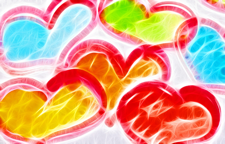 art abstract colorful background with hearts Stock Photo