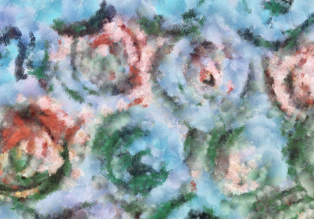 art abstract pastel watercolor pattern background in red, green and blue colors in the shape of flowers 版權商用圖片