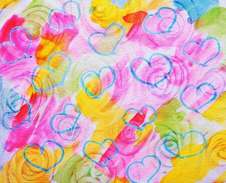 art abstract colorful background with hearts and flowers