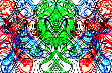 symmetry: art nouveau symmetry and abstract colorful pattern in red, green and blue Stock Photo