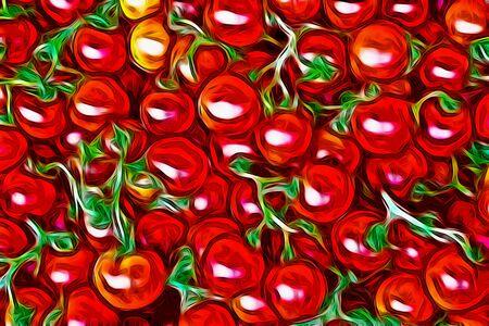 tomate cherry: ornamento vegetal, de color rojo cereza fondo de los tomates