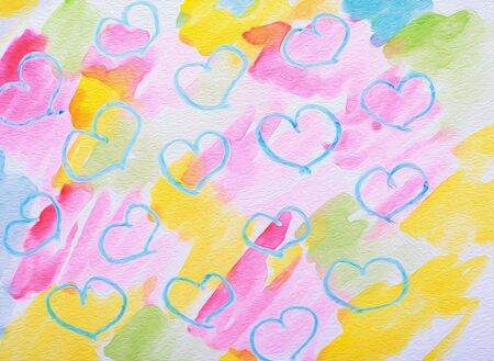 tilling: art abstract colorful background with hearts Stock Photo