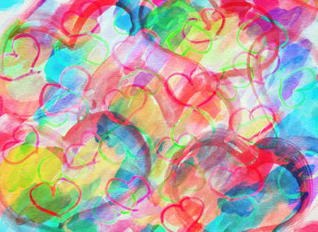 tilling: art abstract colorful background with hearts, grunge