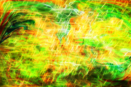 inexpressive: Photo art, bright Colorful light streaks abstract background in green and yellow colors