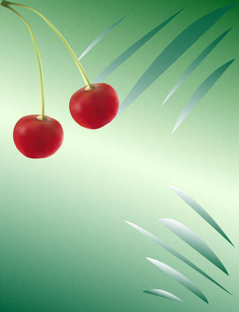 Beautiful realistic cherry on a green abstract background
