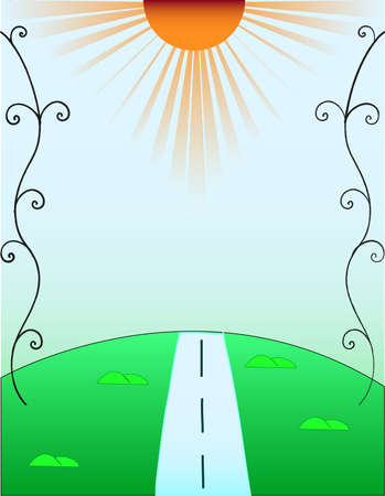 simplicity: The sun shining road and hills Illustration