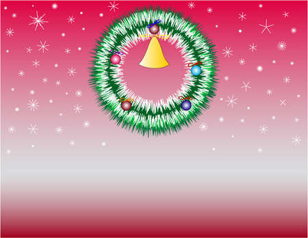 Christmas wreath, snowflakes on a red background