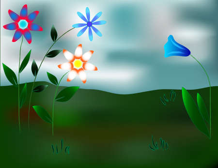 Beautiful fantastic flowers against the sky and the earth Illustration