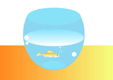Round aquarium with a gold small fish