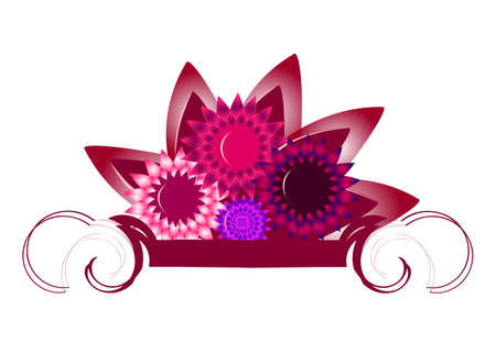 Banner with blossoming asters Illustration