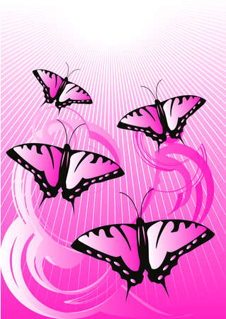 The pink butterflies flying to light Vector