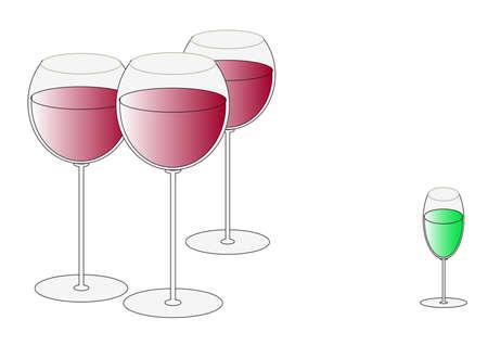 likeur: Drie glazen met wijn en een Absint likeur wijn-glas