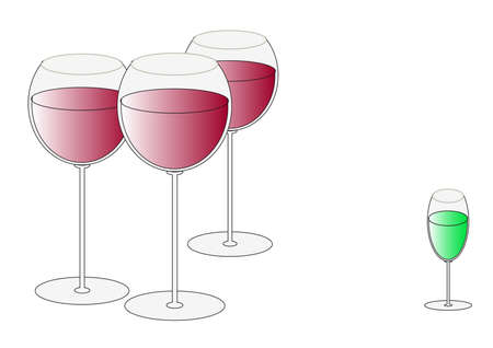 Three glasses with wine and an absinthe liqueur wine-glass Vector
