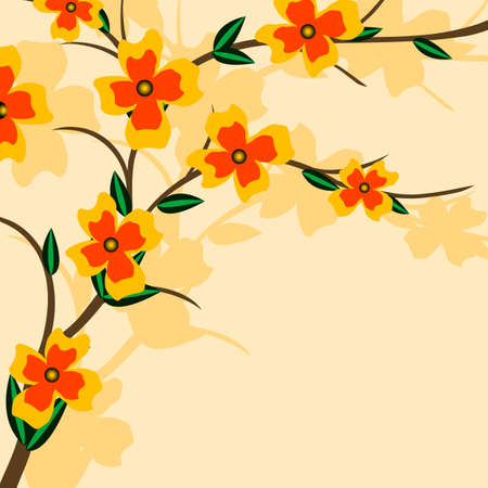 Branch of a plant, the Japanese style, background Stock Vector - 17822711