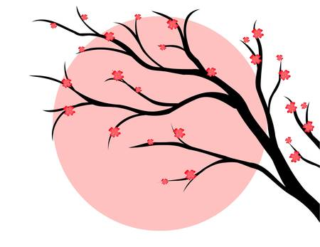 branch of cherry, japanese style Vector