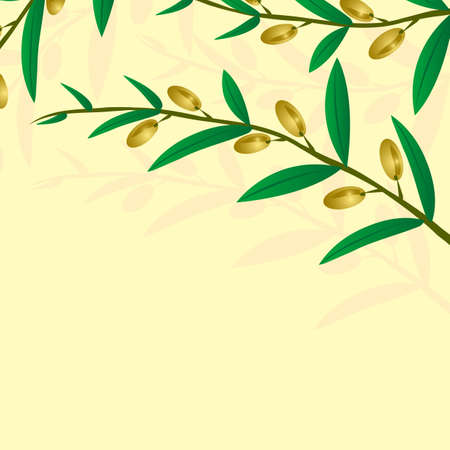 olive branch on a light brown background Vector