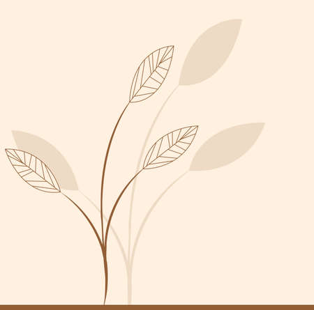 Branch of a plant, the Japanese style, background Vector