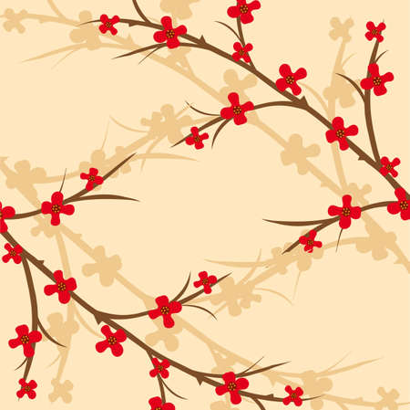 Branch of a plant, the Japanese style, background, to see similar, please visit my portfolio Vector