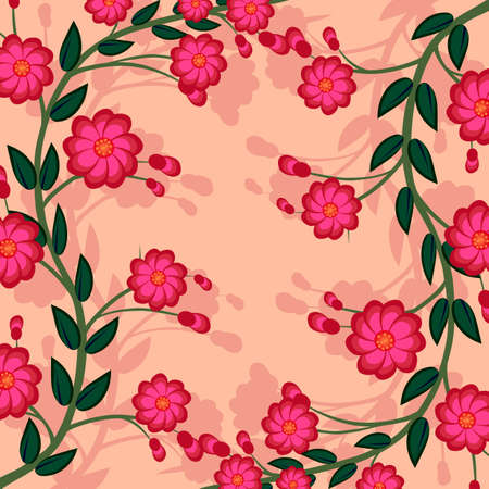 Branch of a plant, the Japanese style, background Illustration