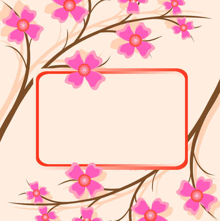 floral background and frame, coloured flowers