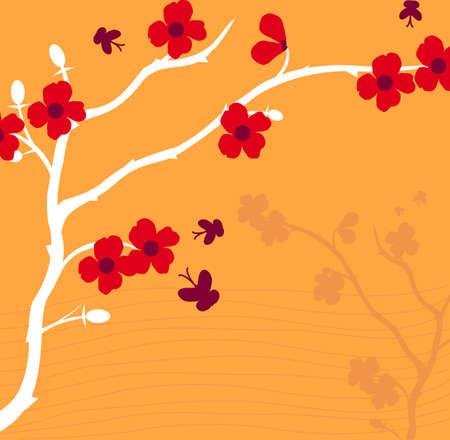 Branch of plant, Japanese style, background Illustration