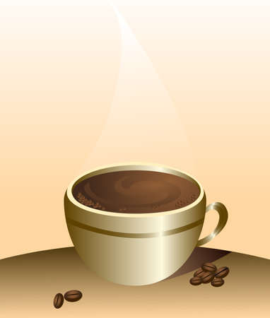 Cup of coffee and coffee grains in vector Stock Vector - 17822904