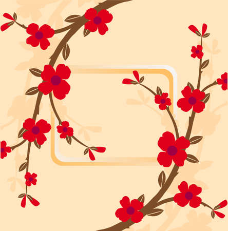 floral frame with flowers in the Japanese style Illustration