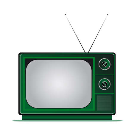retro television coloured with antenns Illustration