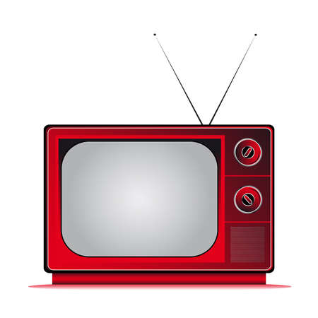 crt: retro television coloured with antenns Illustration