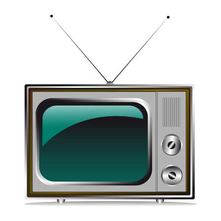 retro television coloured with antenns Vector