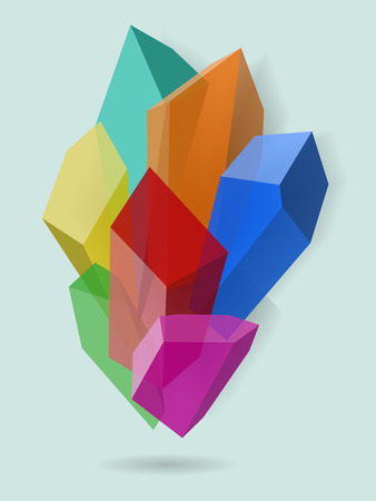 Multicolor crystal. Vector stone. Transparent mineral with 3d effect.