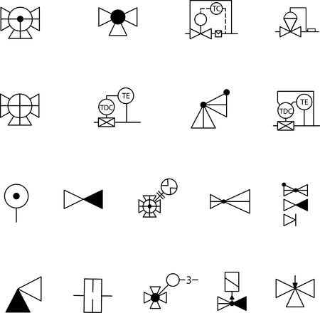Simple set of shut-off and control valves. Vector symbols and valves. Symbol used in the drawings. Engineering set. Water supply. Heating. Gas supply. DIN standart. For engineering sites and engineers. Illustration