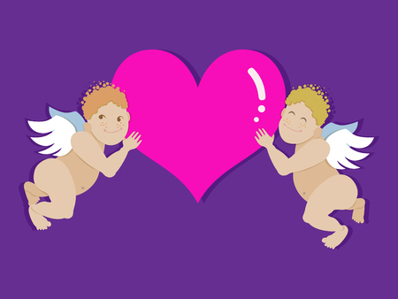 Vector angels with heart. Applicable for the wedding ceremony and St. Valentine's Day.