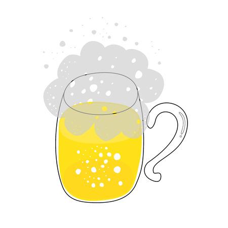 Hand drawn mug of beer. Vector illustration. Eps 10 Vettoriali