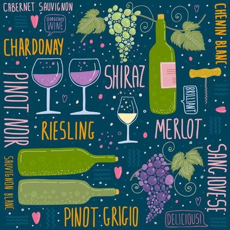 Wine festival poster seamless pattern