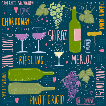 Wine festival poster seamless pattern