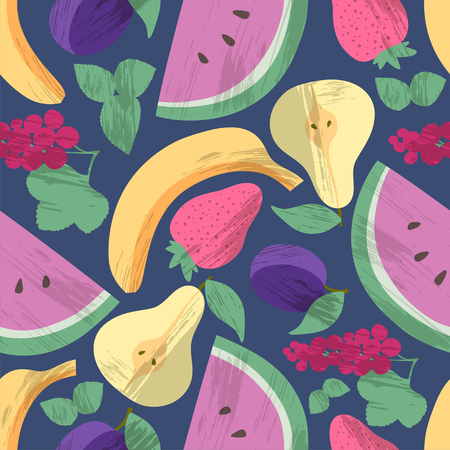 Seamless pattern with fruts and berries Ilustracja
