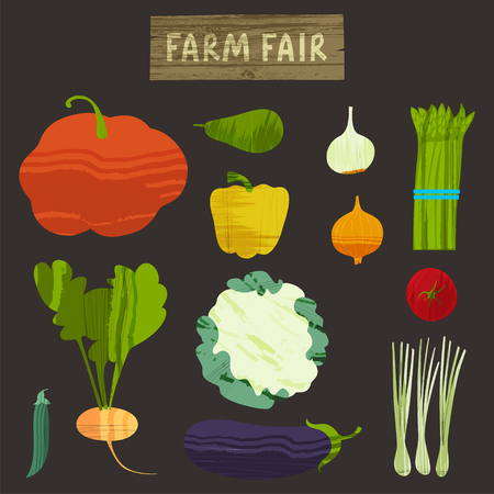 Set of vegetables. Vector illustration Stock Photo
