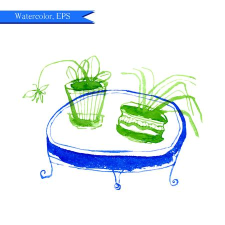 水彩画の花や家具