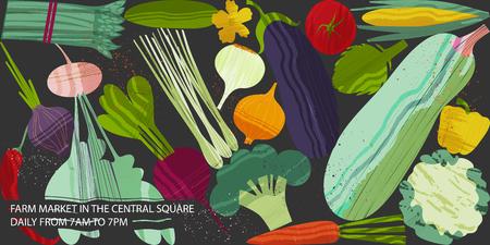 Set Gemüse. Vektorillustration des gesunden Lebensmittelentwurfs zum Thema Vegetarismus und Bauernhofmesse. Veganes Menü. Plakatkonzept