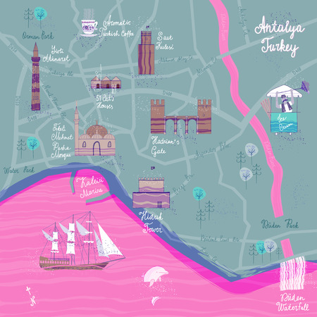 Hand drawn Antalya cartoon map. Postcard concept with the most interesting places for visit. Vector illustration