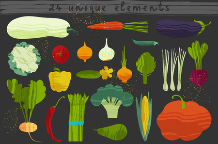 Set of vegetables. Vector illustration of healthy food design on the topic of vegetarianism and farm fair. Vegan menu