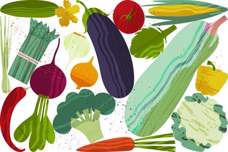 Ensemble de légumes. Illustration vectorielle de conception d'aliments sains sur le thème du végétarisme et de la ferme. Menu végétalien