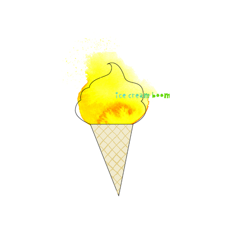 Watercolor ice cream in a waffle cone with carved letters. Festival and t-shirt concept. Vector illustration 矢量图像
